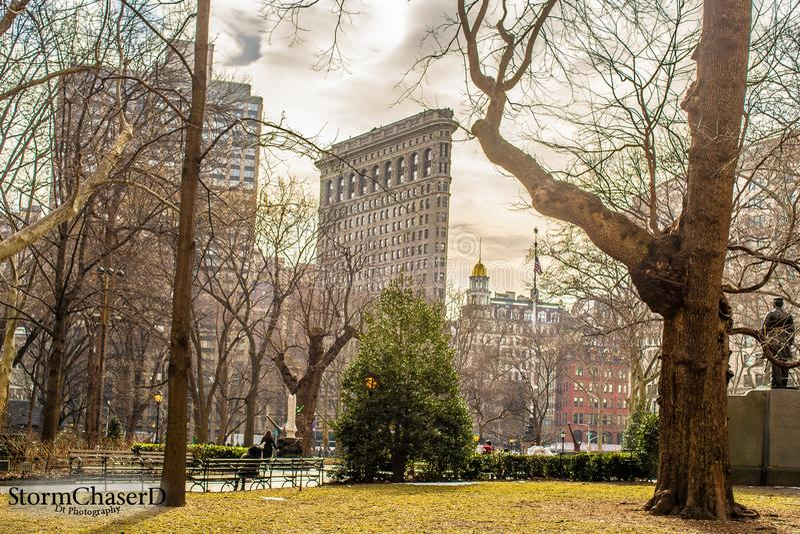 Plancha que construye New York City imagen de archivo