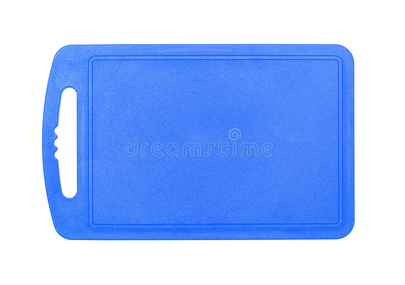 Planche à découper de plastique bleue images libres de droits