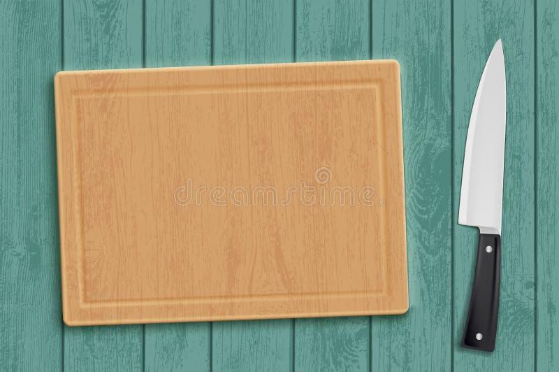 Planche à découper en bois de cuisine avec un couteau illustration stock