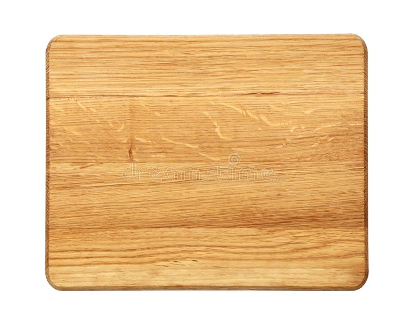 Planche à découper rectangulaire en bois de chêne d'isolement photographie stock