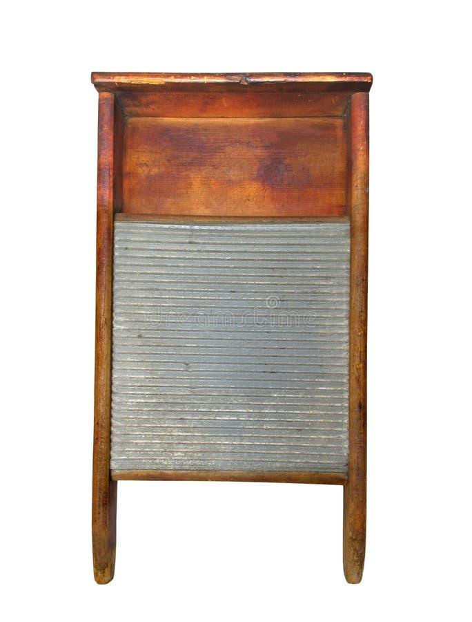 Planche à laver de blanchisserie en bois et de bidon d'isolement. photographie stock