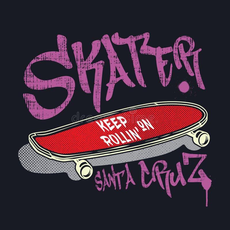 Planche à roulettes avec le patineur de signe de style de graffiti illustration de vecteur