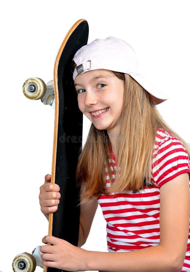 Planche à roulettes drôle de fille image libre de droits