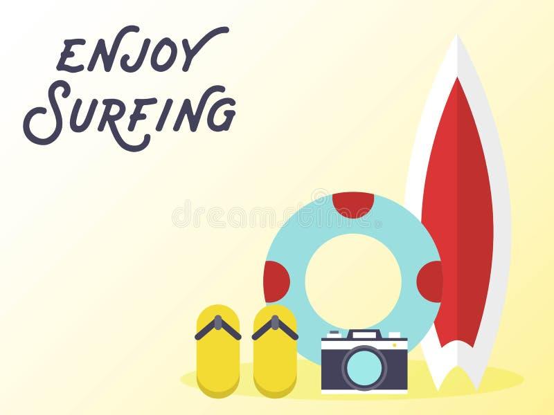 Planche de surf avec l'anneau de bain et les bascules électroniques illustration de vecteur