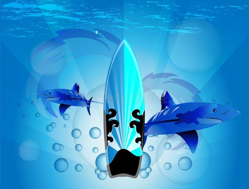 Planche de surf avec le requin illustration libre de droits