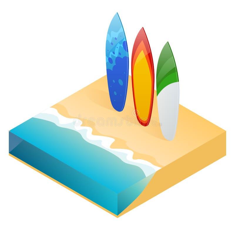 Planche de surf colorée moderne de vecteur Planches de surf de vacances sur la plage d'océan illustration stock