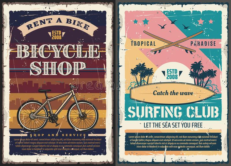 Planche de surf, conseil surfant, vague de plage, bicyclette illustration stock
