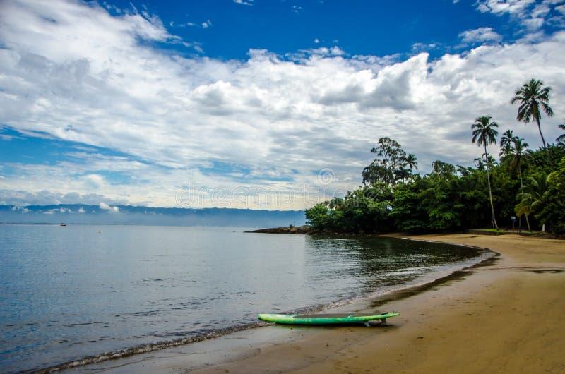 Planche de surf dans la plage image stock