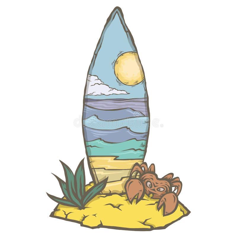 Planche de surf dans le sable de la plage illustration stock