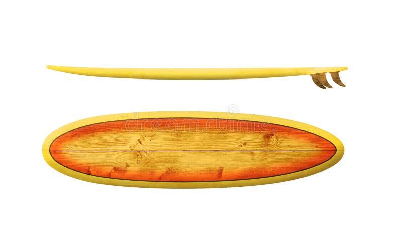 Planche de surf en bois de cru image stock