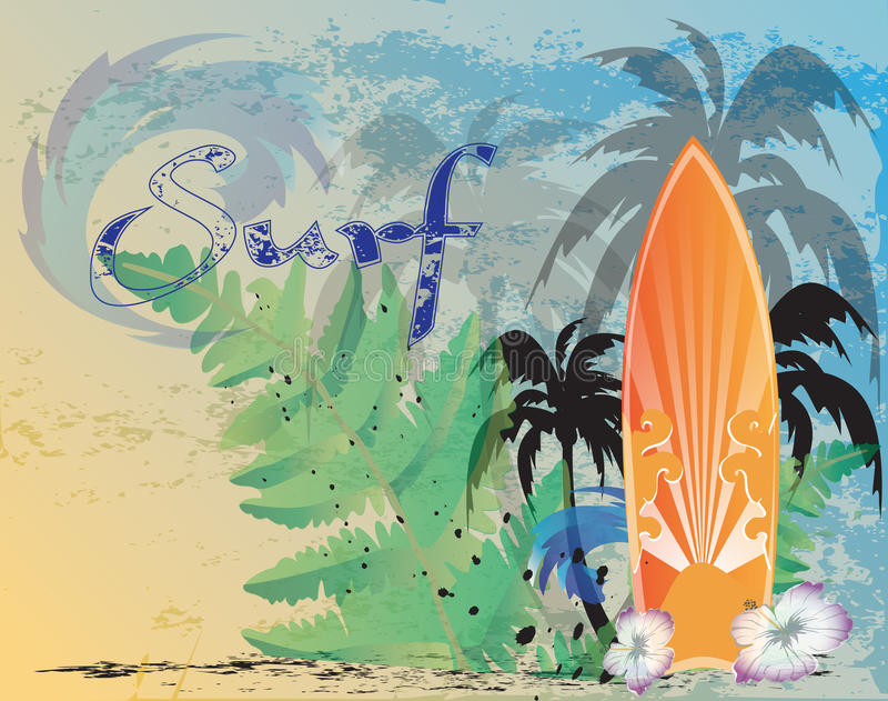 Planche de surf, rétro illustration libre de droits