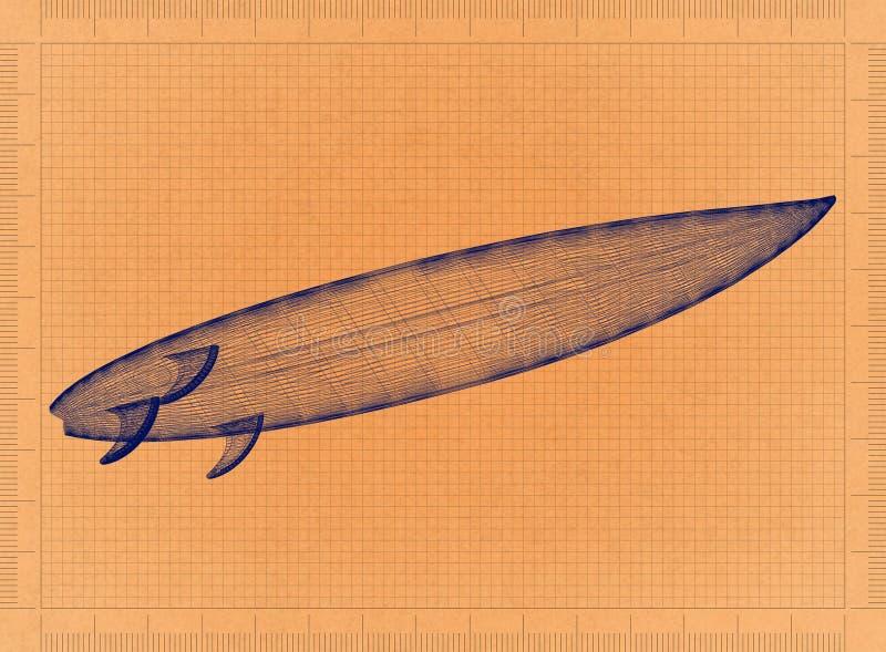 Planche de surf - rétro modèle illustration stock