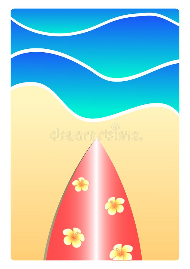 Planche de surf sur l'illustration de plage illustration libre de droits