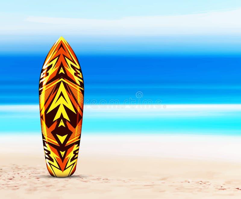 Planche de surf sur la plage, dans la perspective de la mer ou de l'océan Illustration de vecteur dans un style tropical hawa?en illustration de vecteur