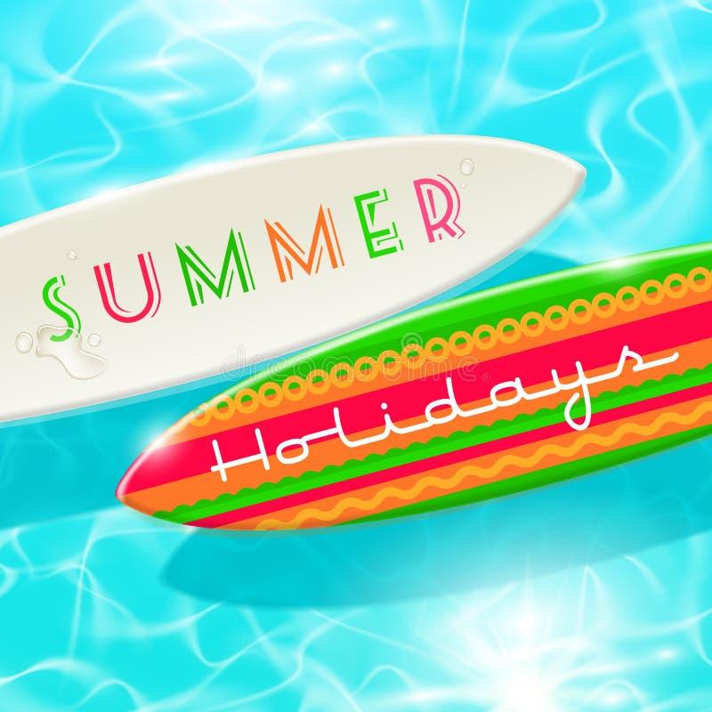 Planche de surf sur une eau tropicale brillante bleue illustration libre de droits