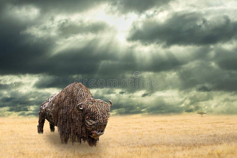 Planche el búfalo hecho del pedazo del hierro que camina en pradera seca Abra el paisaje llano con el bisonte de Amercian Lluvia  foto de archivo