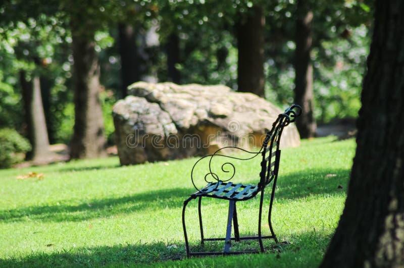 Planche el banco en sombra en parque entre árboles grandes con la roca gigante en el foco selectivo del fondo - bokeh imagen de archivo libre de regalías