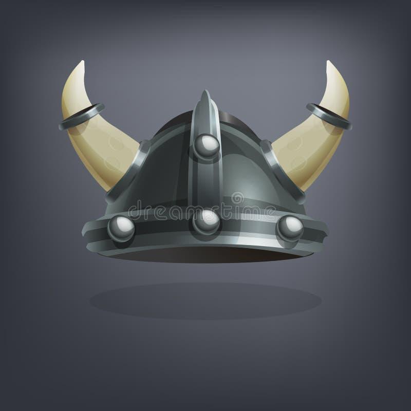 Planche el casco de la armadura de la fantasía de vikingo para el juego o las tarjetas stock de ilustración