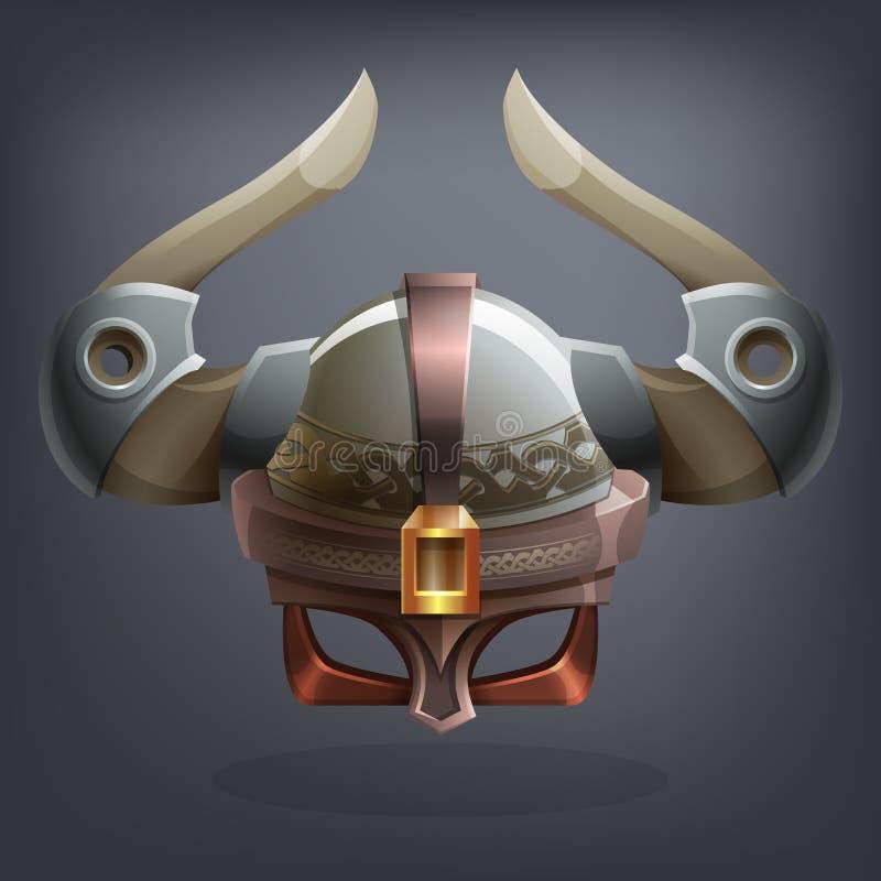 Planche el casco de la armadura de la fantasía para el juego o las tarjetas stock de ilustración