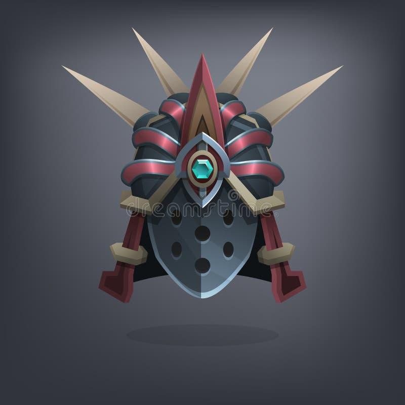 Planche el casco de la armadura de la fantasía para el juego o las tarjetas Vector stock de ilustración