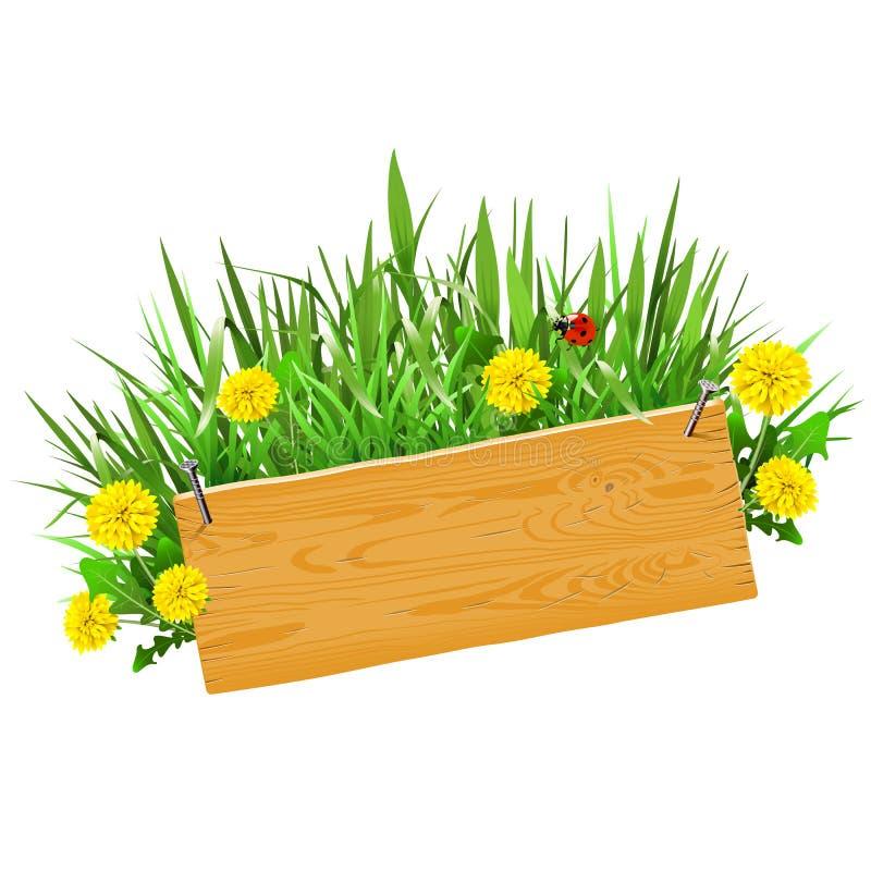 Planche en bois de vecteur avec l'herbe illustration libre de droits