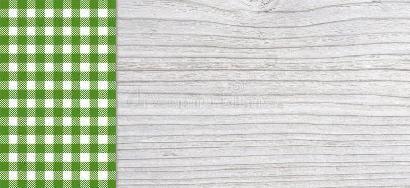 Planche gris-clair traditionnelle avec la nappe verte photos stock