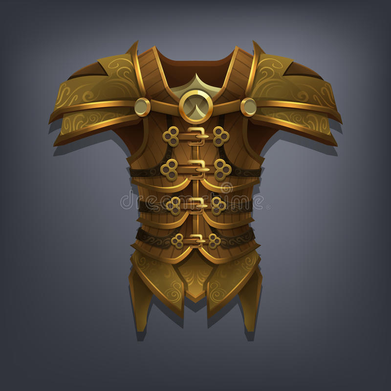 Planche la armadura del pecho de la fantasía para el juego o las tarjetas stock de ilustración