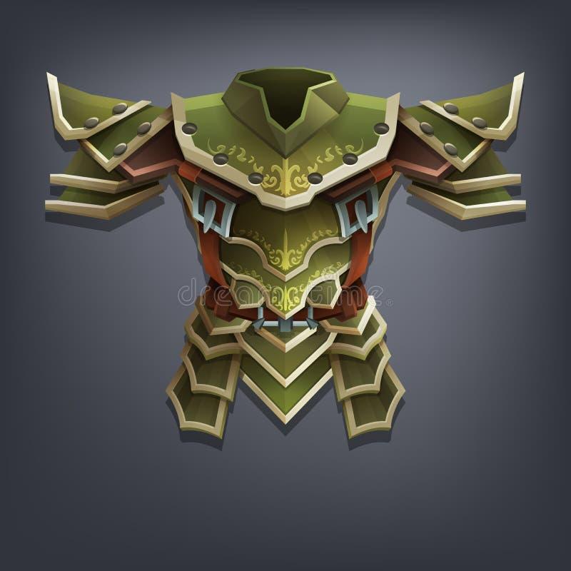 Planche la armadura del pecho de la fantasía para el juego o las tarjetas ilustración del vector
