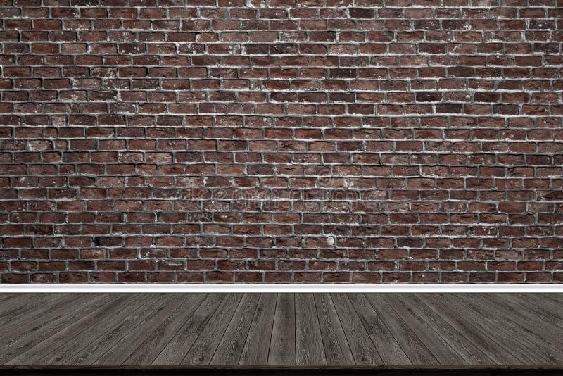 Plancher abstrait de mur de briques et en bois dans la chambre pour l'illustration photo libre de droits
