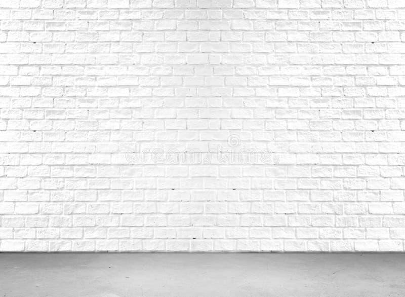 Plancher blanc de mur de briques et de ciment image stock