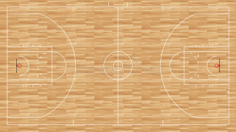 Plancher de basket-ball - nba réglementaire illustration stock