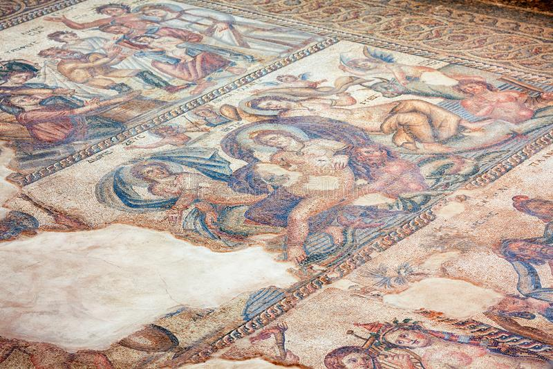 Plancher de mosaïque de la Chambre d'Aion Kato Pafos Archaeological P photographie stock