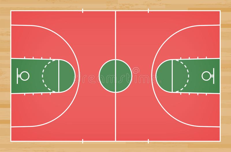 Plancher de terrain de basket avec la ligne sur le fond en bois de texture de modèle Champ de basket-ball Vecteur illustration de vecteur