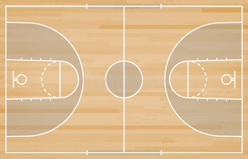 Plancher de terrain de basket avec la ligne sur le fond en bois de texture Vecteur photographie stock libre de droits