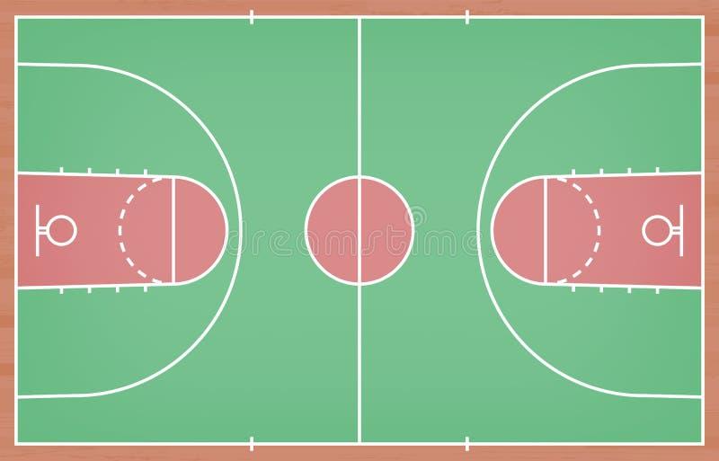 Plancher de terrain de basket avec la ligne sur le fond en bois de texture Vecteur photos libres de droits
