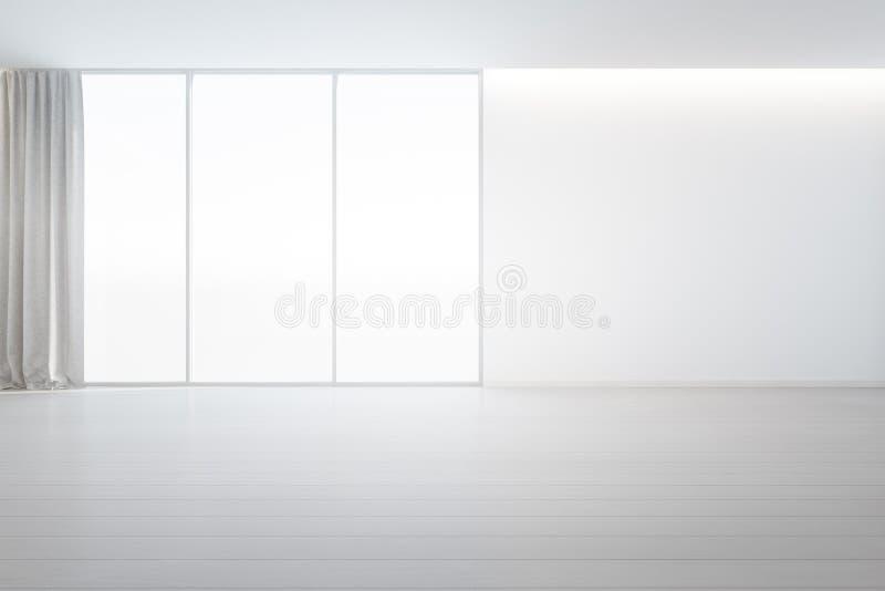 Plancher en bois avec le fond blanc de mur en béton dans la grande chambre à la nouvelle maison moderne pour la grande famille, l illustration stock