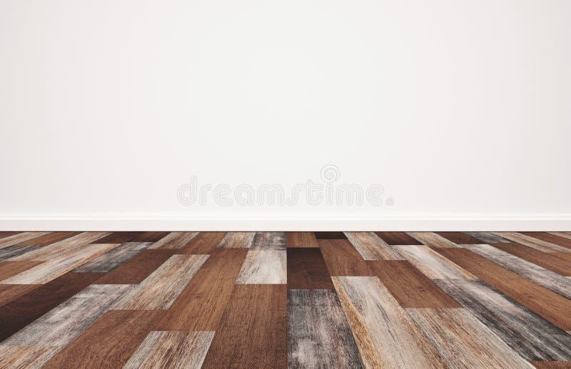 Plancher en bois avec le mur blanc, fond vide de pièce images libres de droits