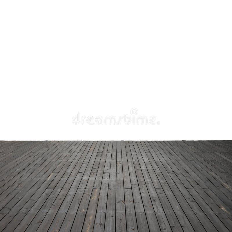 Plancher en bois d'isolement avec le chemin de coupure images stock