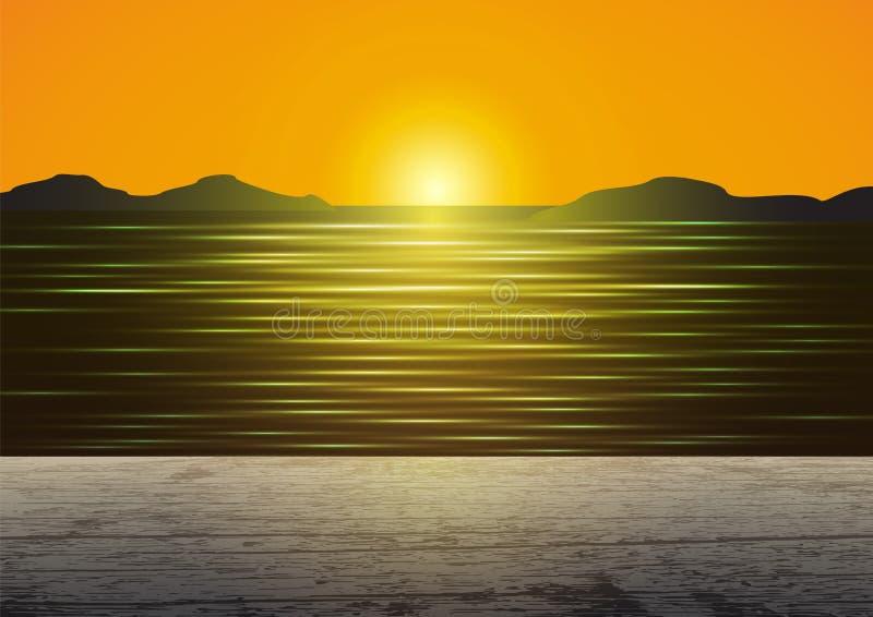 Plancher en bois de cru sur le lever de soleil d'or au-dessus du fond d'horizon de mer illustration stock