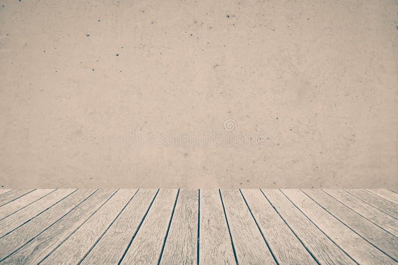 Plancher en bois et mur en béton photo libre de droits