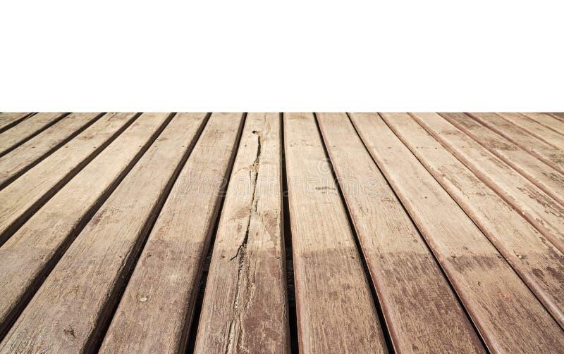 Plancher en bois vide d'isolement sur le blanc image stock