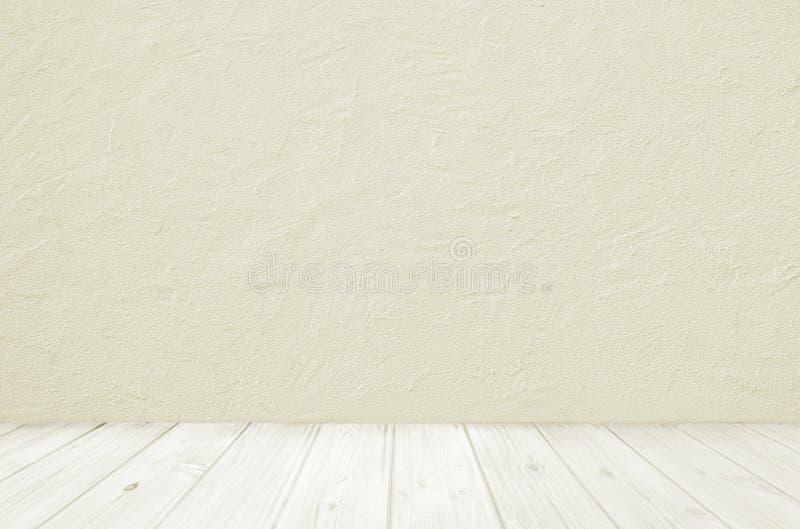 Plancher et mur en bois légers avec le plâtrage concret photo stock
