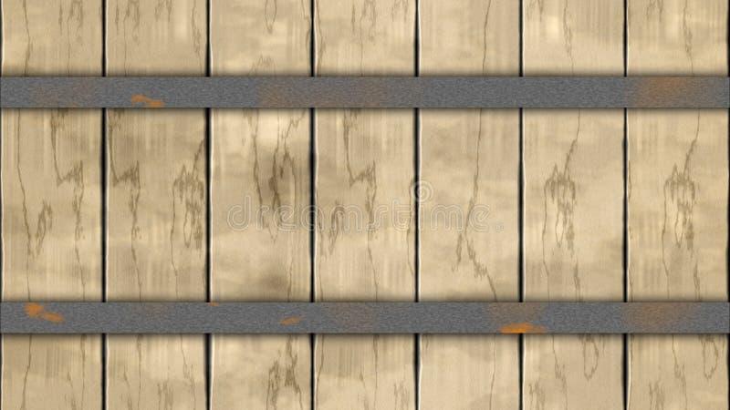 Planches boisées colorées beiges légères de chêne de barrière de baril de fond sans couture de modèle avec deux cercles rouillés  illustration libre de droits