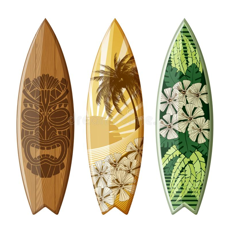 Planches de surf avec la conception plate illustration stock