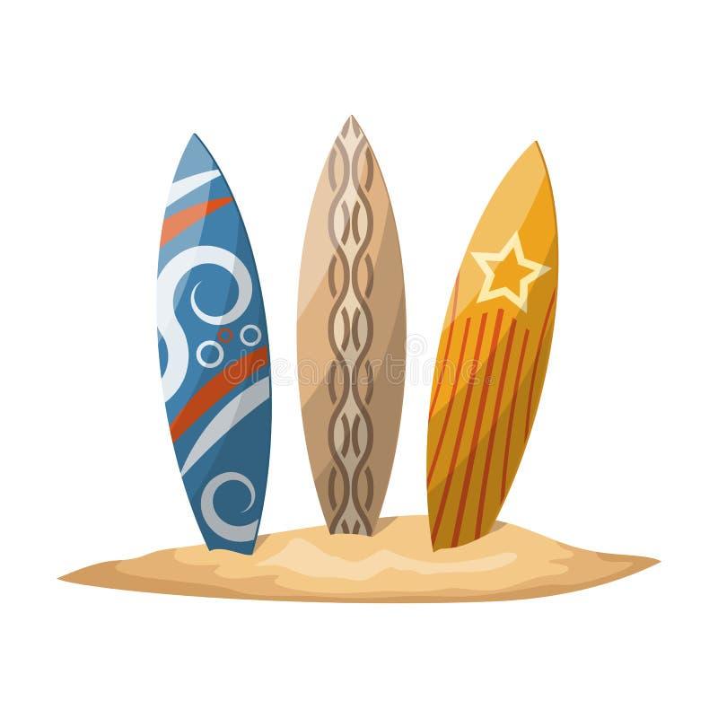 Planches de surf coincées dans le sable illustration de vecteur