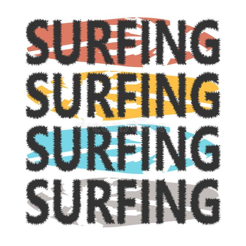 Planches de surf colorées avec surfer de lettrage Planches de surf avec des paumes sur le fond Typographie pour le T-shirt illustration de vecteur