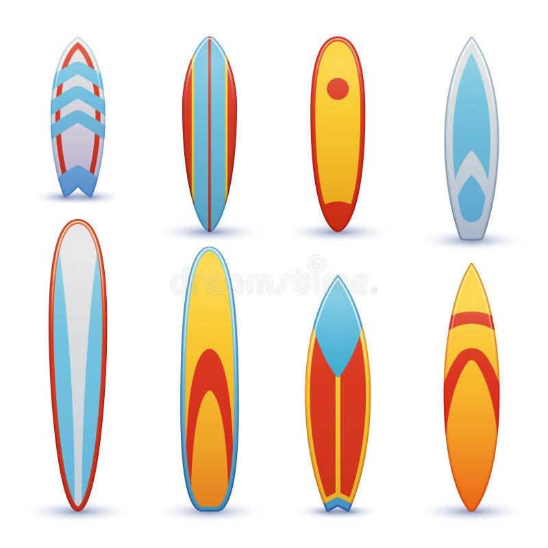 Planches de surf de vintage avec l'ensemble frais de vecteur de conception graphique illustration stock