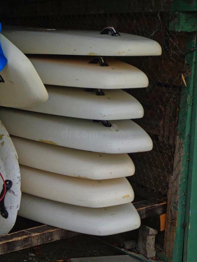 planches de surf empilées dans une étagère photographie stock libre de droits