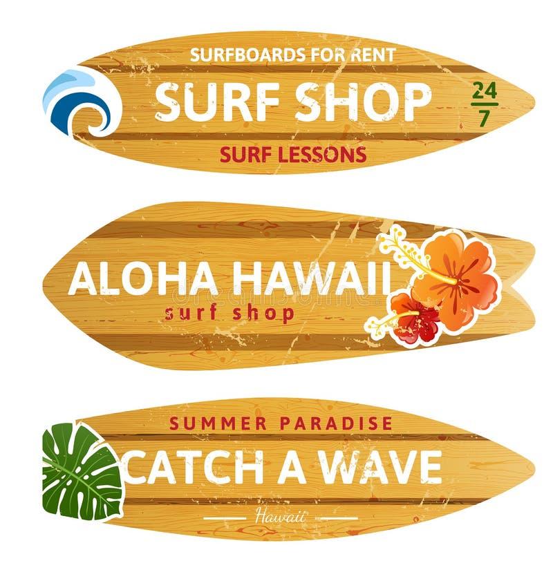 Planches de surf en bois illustration libre de droits