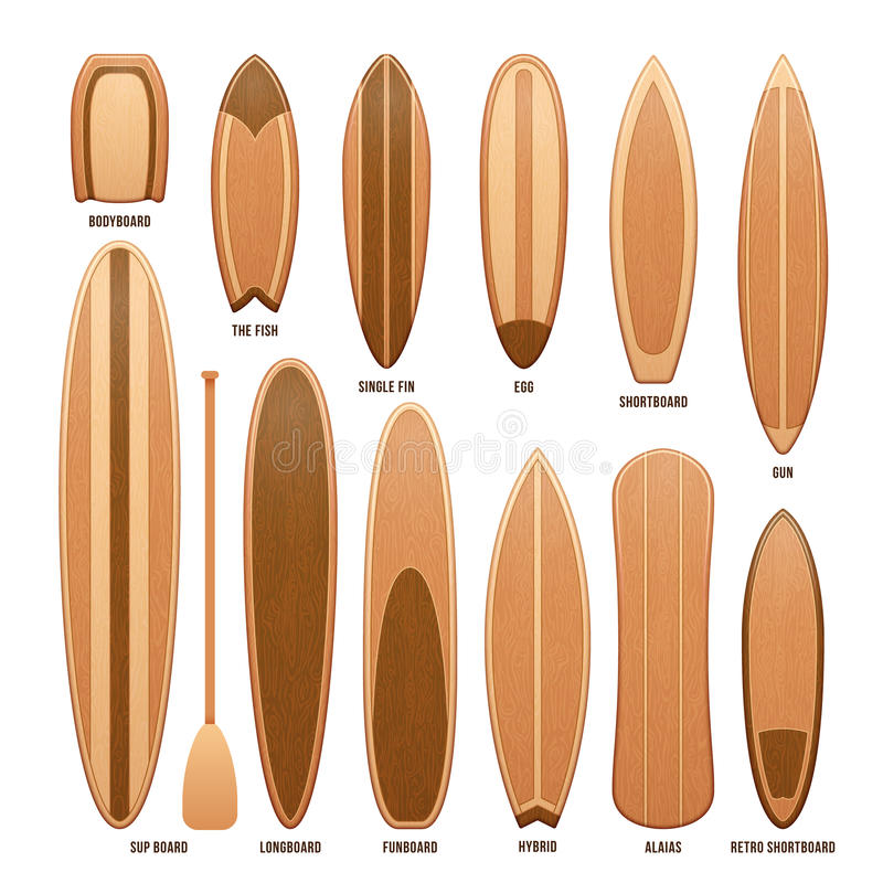 Planches de surf en bois d'isolement sur l'illustration blanche de vecteur illustration stock